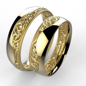 00004 snubní prsten Baroko vlnka žluté