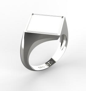 0004 Pánský prsten základ čtverec na koso bílý 20 x 20 mm