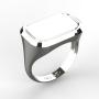 0005 Pánský prsten základ obdélník oblé rohy bílý 21 x 15 mm