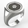 0006 Pánský prsten onyx + diamant 1.25 mm + 3mm bílý 20 mm