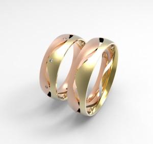 00003 snubní prsteny Dariana 8 x kam 1 mm růžovo žluté