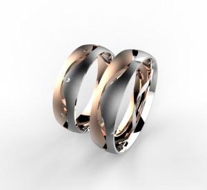 00003 snubní prsteny Dariana 8 x kam 1 mm růžovo bílé