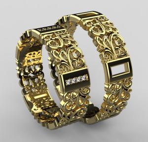 Zlaté snubní prsten 105, se zirkony/diamanty